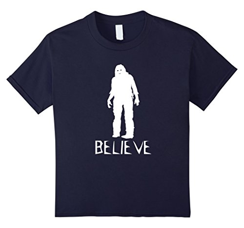 unisex-child Believe Bigfoot Sasquatch - Scary Costume T Shirt 6 Navy -