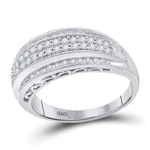 - Dazzlingrock Collection 10kt White Gold Womens Round Diamond Domed Band Ring 3/8 Cttw