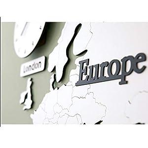 Wall clock Reloj Mapa Reloj de Pared Sala de Estar Reloj de Pared Estilo nórdico Movimiento de escaneo silencioso Material de Madera (137 * 63 * 0.5 cm) (220 * 115 * 0.5 cm) 6