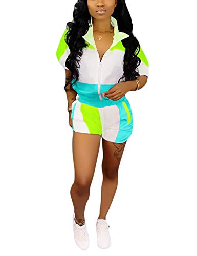 (2 Piece Windbreaker Outfits Color Block Zipper Jacket Tops and Short Set Blue S)