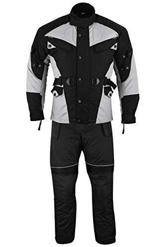 German Wear 2-teiler Motorradkombi Cordura Textilien Motorradjacke + Motorradhose, 48/S, Grau/Schwarz