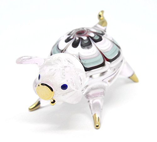 (NaCraftTH Pink Pig Cute Glass Figurines Murano Glass Blown Artwork Animal Figure Home Decor Handmade Birthday Gifts)