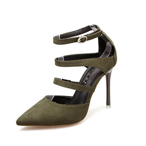 JITIAN Sandales pour Femmes Chaussures Talons Hauts Aiguilles Pointu Sangle Bride Cheville Sandale Vert 37 lSxOOVdKh