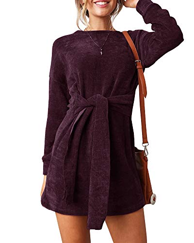 Tie Bodycon Dress Waisted Sleeve Faisean Velvet Empire Long Party Womens Red Dress Front Mini Wine 4F578q