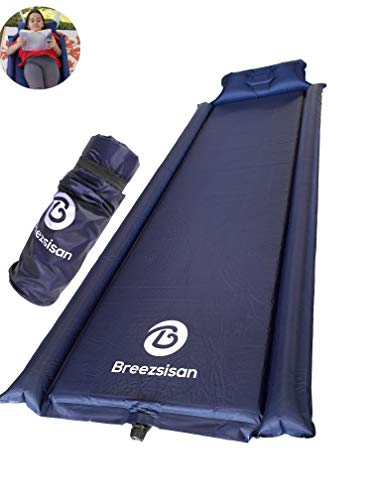 Breezsisan Camping Sleeping pad with Pillow Armrest.Best Camp Necessity Gear Compact Inflate Pads for Backpacking Hiking Hammock Tent cot Sleep Bag-Foam Inflatable Long Self Inflating Air Mattress