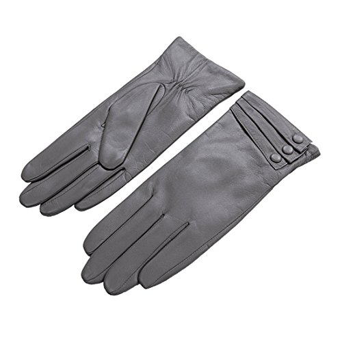 Medium Grey Leather (Nappaglo Nappa Leather Gloves Warm Lining Winter Button Decoration Imported Leather Lambskin Gloves for Women (M, Grey))