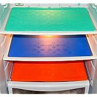 SANSEZZ™ Refrigerator Drawer Mats/Fridge Mats Pack of 3 pcs 12X17 Inches(Multi Colors)