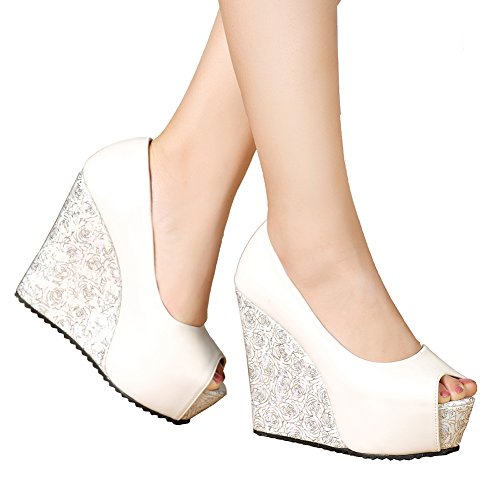 White High Wedge - getmorebeauty Women's White Rose Knittng Party Wedding Open Toes High Heel (7.5 B(M) US, White)