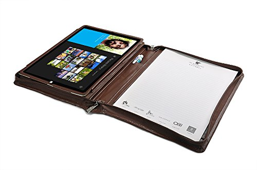 Deluxe Portfolio Case with Kickstand Holder and Handle for Microsoft Surface Pro 4,Brown by iCarryAlls