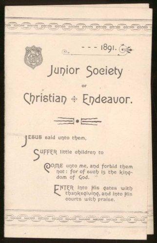 Prayer Folder - Junior Society of Christian Endeavor Prayer Meeting Topics folder 1891 Boston MA