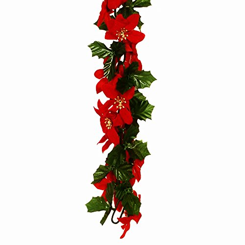 FloristryWarehouse Poinsettia Holly Chain Link Christmas Garland Red Green Gold 6ft