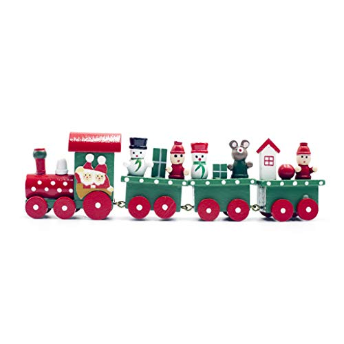 Danyerst Wooden Christmas Train Tree Snowman Bear Ornament, Xmas Party Home Favor Decor Kids Educational Toys Gift ()