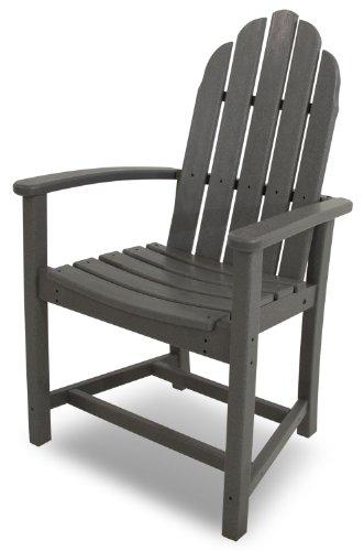 POLYWOOD ADD200GY Classic Adirondack Dining Chair, Slate Grey