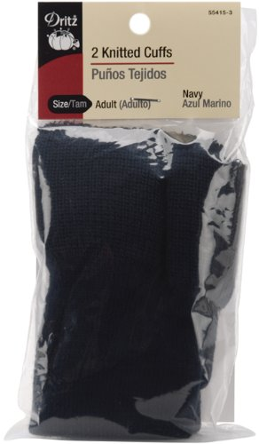 (Dritz 55415-3 Knitted Cuffs, Adult Size, Navy (2-Count) )