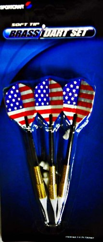 3 Soft Tip American Flag Brass Darts w/ 3 Extra Tips by Sportcraft