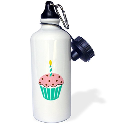 3dRose wb_165471_1 Chocolate Peppermint Cupcake Cartoon Sports Water Bottle, Multicolored, 21 (Chocolate Peppermint Cupcakes)