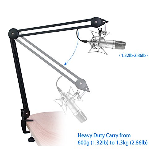iksee Studio Arm Microphone Stand, Microphone Boom Arm Desk Stand with Foam Mic Cover and Threaded Screw for Blue Yeti Snowball and More Microphones - Image 1