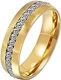 HEART SPEAKER Men's Women's Couple Lover Rhinestone Titanium Steel Engagement Ring Size 6-11