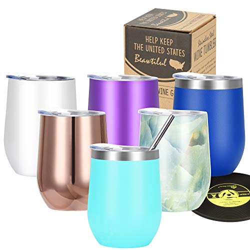 Stainless Steel Stemless Wine Glass - Markline T1 Triple Vacuum Insulated Travel Tumbler Cup with Lid, Straw, Coaster, 12 oz, Keep Cold & Hot for Wine, Coffee, Cocktails, Drinks, Cute Xmas Gift, Teal