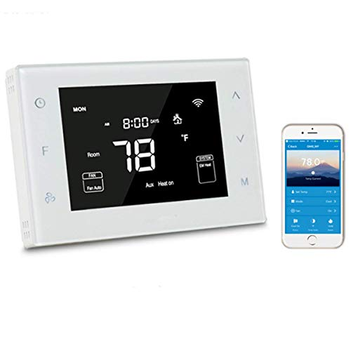 BOWSEN Smart WiFi 7 Day Programmable LCD Multistage Thermostat for Heat Pump, Compatible with Alexa (WHITE)