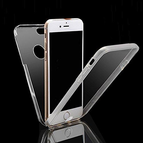 Handy Schutz Hülle mit Displayschutz Touch Case für Apple iPhone 6 / 6S 360 Rundum Schutz Kunststoff & TPU Bumper Full Body Cover Schale Etui in Weiss