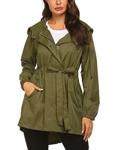 (Women's Raincoats Windbreaker Rain Jacket Waterproof Lightweight Outdoor Hooded Trench Coats Army Green)