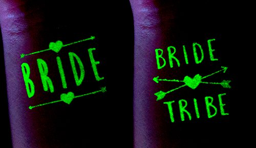 ASUSA Bachelorette Party Tattoos – 16 Glow in The Dark Tattoos – Bride Tribe, Bachelorette Party Favors, Decorations & Supplies Temporary Flash Tattoos (16 Tattoos) -
