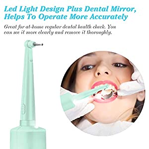 Tartar Scraper, Alitake Electric Dental Calculus Remover Dental Tools Teeth Stain Remover Dental Dental Hygiene Kit with Oral Mirror, LED Light and Replaceable Cleaning Heads-Blue (Color: Blue)