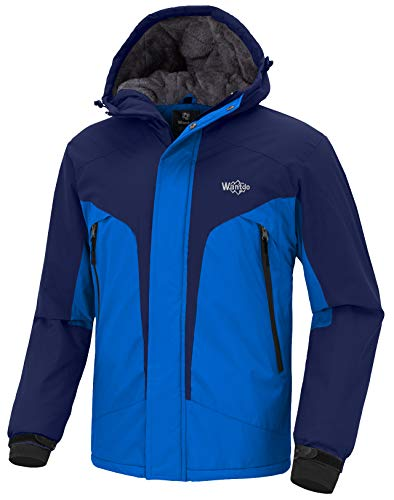 Wantdo Men's Skiing Jacket Waterproof Rainwear with Hood Sportswear Wind Block Rain Resistant Snow Coat for Fishing(Dark Blue + Acid Blue, Large)