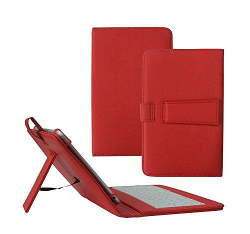 Fire HD 8 Case with Keyboard - Tsmine Universal Micro USB Keyboard W/ Premium PU Leather Case Stand Cover for Amazon Fire HD 8 Tablet, Red