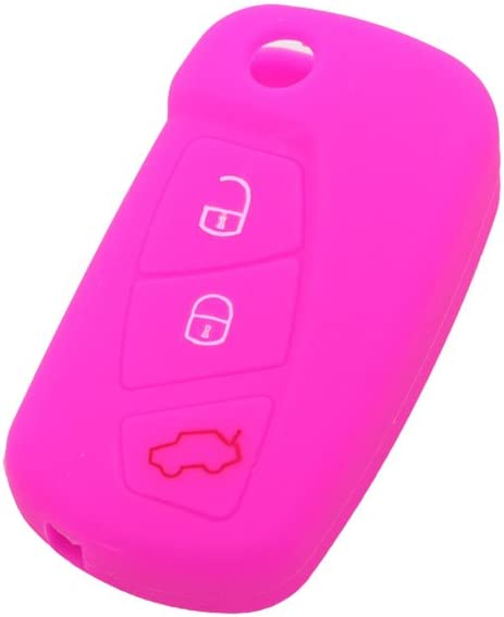 BROVACS Silicone Cover Protector Case Skin Jacket fit for FORD 3 Button Flip Remote Key Fob CV9700 Light Blue