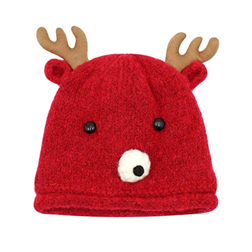 RARITYUS Baby Beanie Hat Cute Reindeer Antlers Knitted Winter Cotton Lined Cap for Boys Girls Toddlers (2 Months to 2 Y) Red