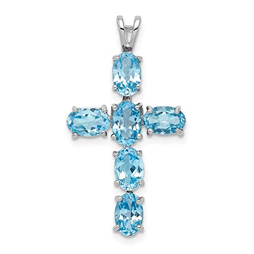 925 Sterling Silver Swiss Blue Topaz Cross Religious Pendant Charm Necklace Gemstone Fine Jewelry Gifts For Women For Her