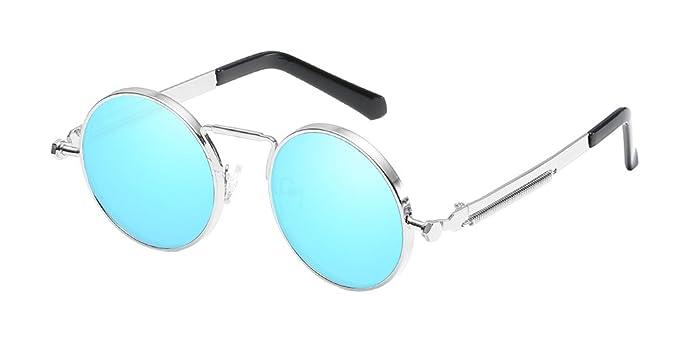 775e71b902 BOZEVON Ronda Metal Steampunk Sunglass con UV 400 Protección para las  Mujeres y los Hombres Azul-Plateado: Amazon.es: Ropa y accesorios