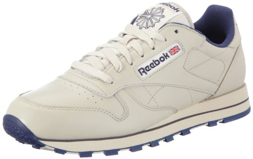 Reebok Men's CL LTHR Track & Field Shoes, Beige (Ecru/Navy), 9 UK