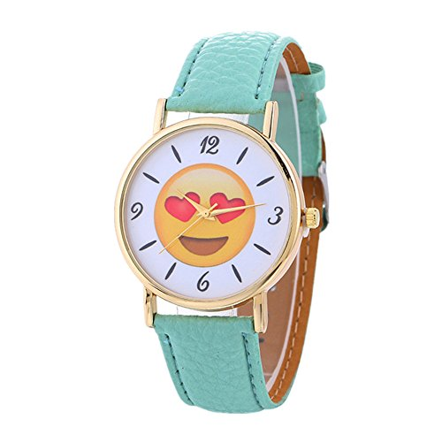 35mm Case - MINILUJIA Women's Emoji Face Smile Watch Casual Stainless Steel Quartz Analog Watch with 35mm Case Green