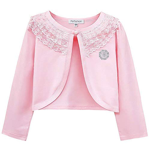 Girls Long Sleeve Lace Bolero Shrugs Cotton Pink Cardigan Party Dress Cover Up