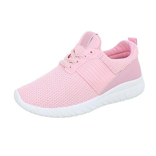 Ital-Design Sneakers Low Damenschuhe Sneakers Low Sneakers Schnürsenkel Freizeitschuhe Pink AN1218