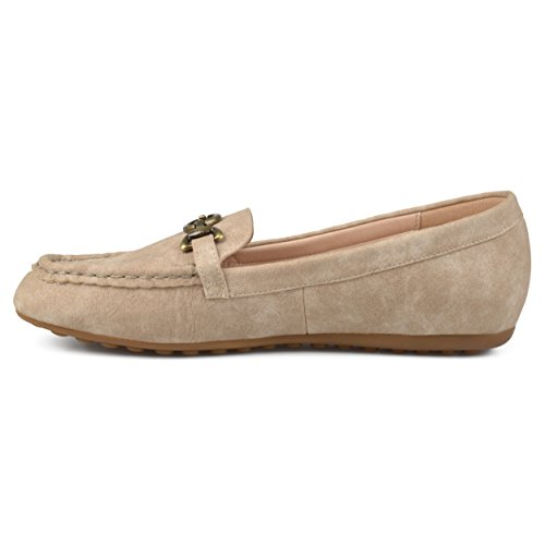 Journee Collectie Dames Vierkante Neus Comfortzool Kettingblad Loafers Taupe