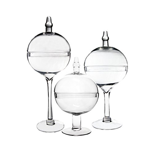 CYS Apothecary Jar Bubble Bowl with Stem Candy Buffet Containers with Lid, Set of 3