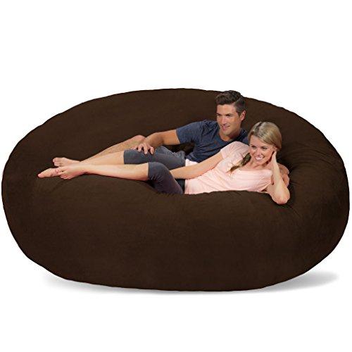 Comfy Sacks 8 ft Memory Foam Bean Bag Chair, Chocolate Micro Suede