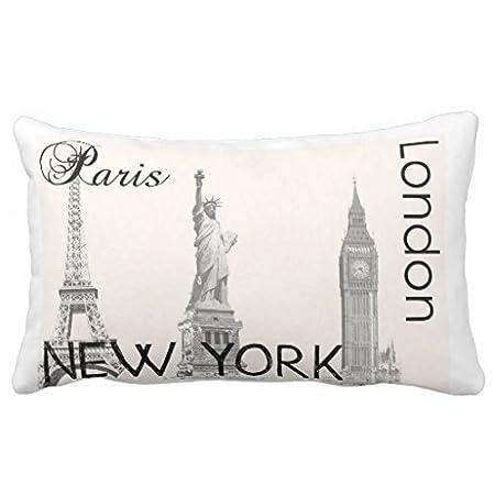 Standard Pillowcase Decorative London, Paris, New York Pillow Cases 16X24 Inches Generic One ZA100234856