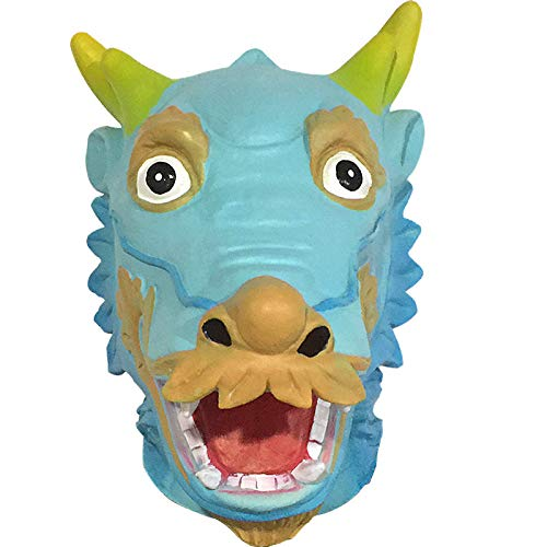 (QIAO Halloween Props Animal Mask Decoration Chinese Dragon Mask Cosplay Party Tidy Latex Props Costume Ball Wig (Color :)