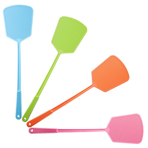 NEBXY Fly Swatter, Manual Swat Pest Control with Plastic Long and Comfortable handle, 4-sweet-colors in one pack