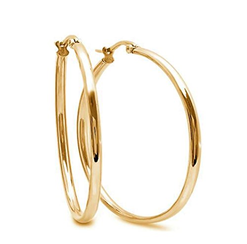 Classic Fashion Top Click Closure Stainless Steel Hoop Earrings (Thick: 2mm Diameter: 50mm, GOLD)