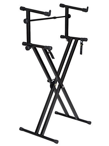 TMS X Style Pro Dual Music Keyboard Stand Electronic Piano Double 2-tier Adjustable X Shape (Best Tms Music Stands)