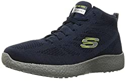 Skechers Sport Men's Burst up and Under Ankle Bootie, Black/White, 10 M US