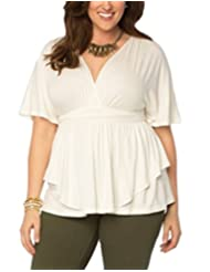 Dilanni Women V-neck Short Sleeve High Waist Top with Front Shirring