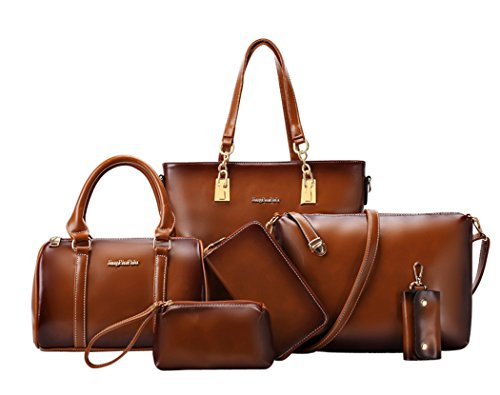 Coofit Frauen Geldbörsen Handtaschen Damen Crossbody Tasche Messenger Bag Tasche 6 Sets (Large, Oil Wax Light Brown)