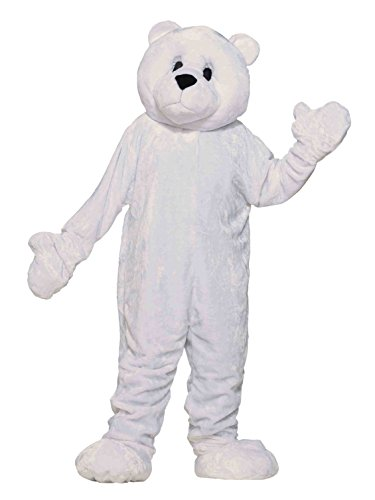 Forum Deluxe Plush Polar Bear Mascot Costume, White, One Size ()